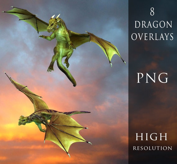 dragon overlays, dragon clip art, digital dragons, green fantasy dragon for Photoshop and photo compositing