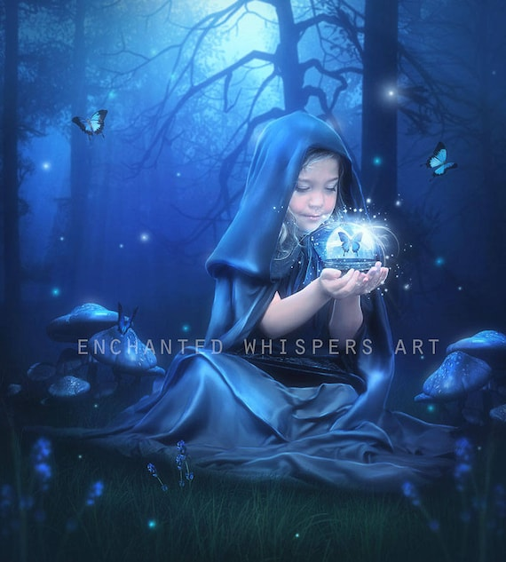 fantasy Little girl Witch child doing magic art print