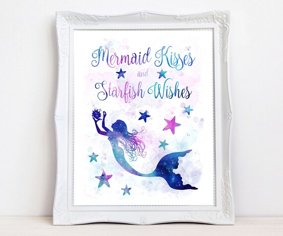 Mermaid Kisses Starfish Wishes girl's room quote art print, galaxy watercolor mermaid decor