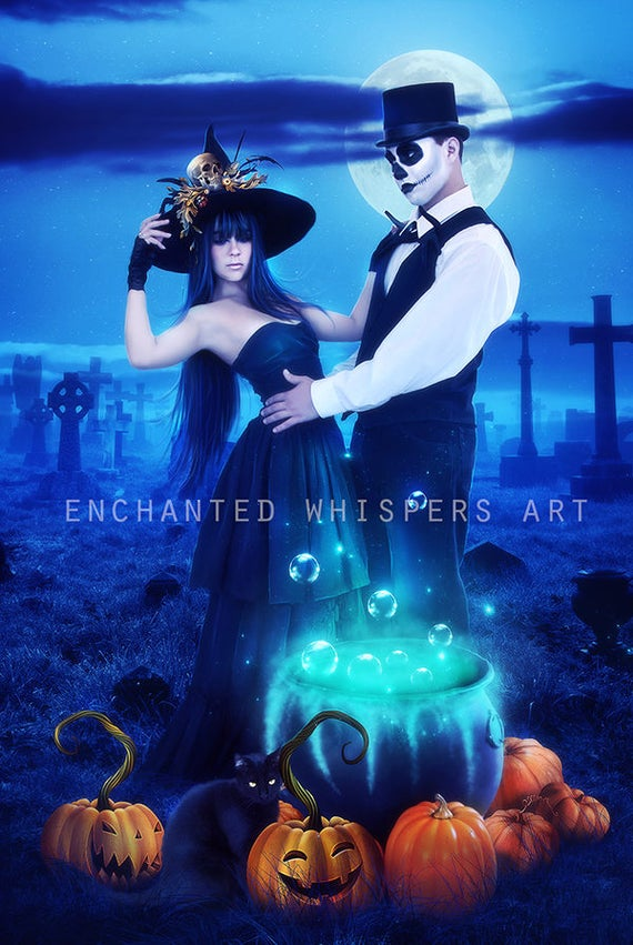 Hslloween dark fantasy Witch couple print