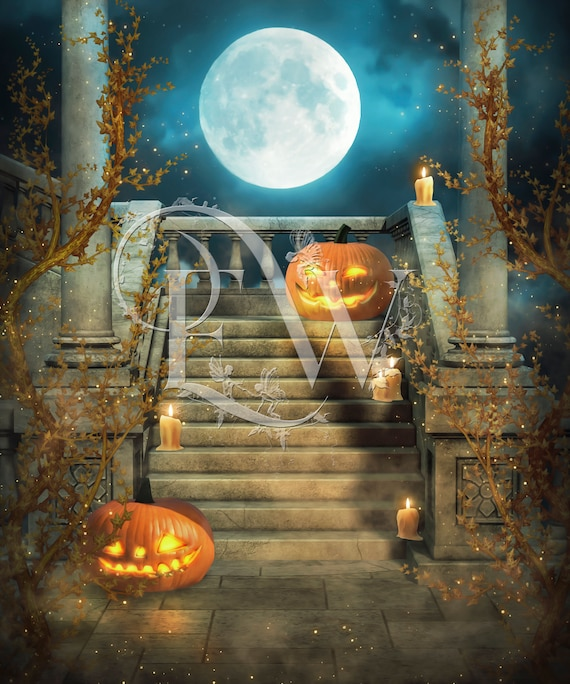 Halloween digital background, digital pumpkins, Halloween backdrop for photo compositing, Photoshop background