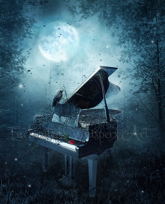 dark fantasy piano with crow in forest art print