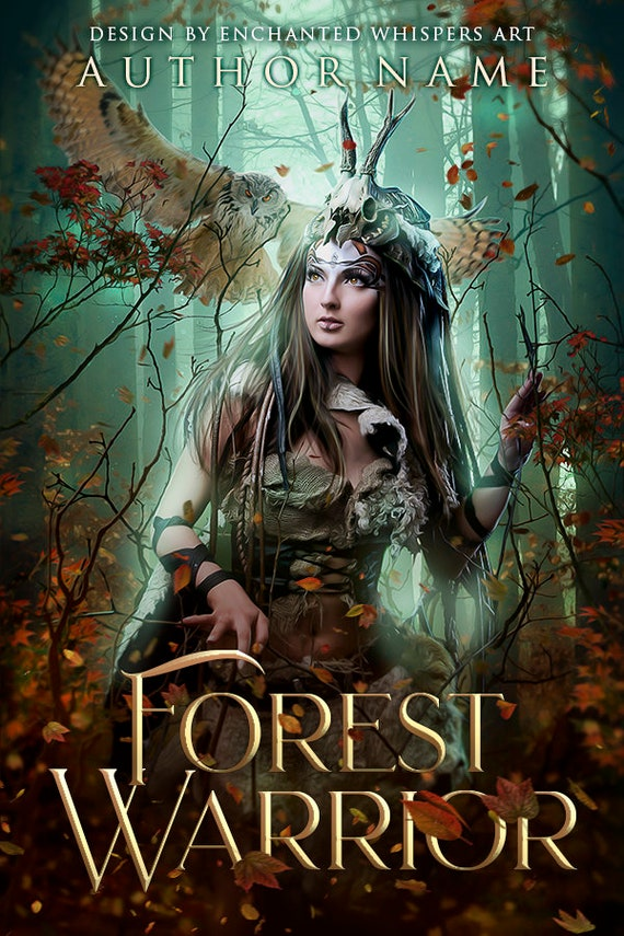 premade fantasy cover with tribal warrior woman and owl in forest