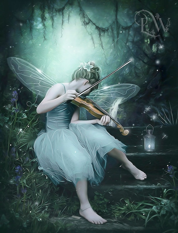 fantasy fae playing violin art print