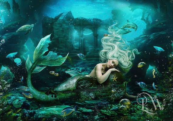 beautiful blonde mermaid under water with cello art print