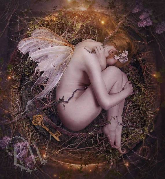mystical fantasy fairy pixie sleeping art print, fae wall decor, fairy poster