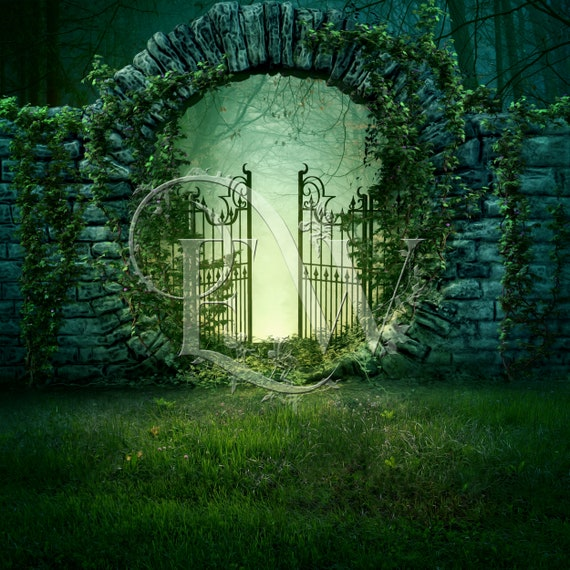 digital background fantasy gate, beautiful garden premade photoshop background, photo editing compositing, photography background