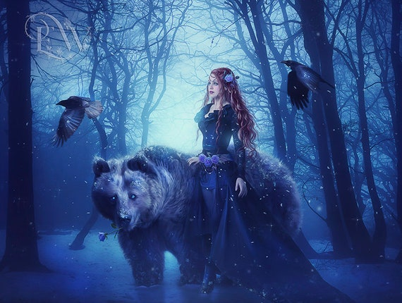 fantasy woman with bear winter scene print