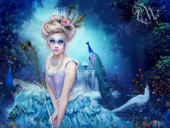 masqurade fantasy woman in garden with peacocks art print
