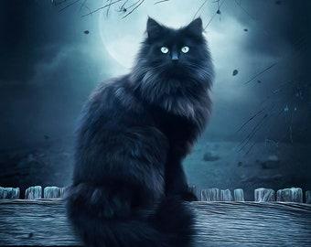 Black cat art, Black cat picture, black cat print, fantasy cat art, full moon art, blue artwork, black cat decor, cat wall art, fluffy cat
