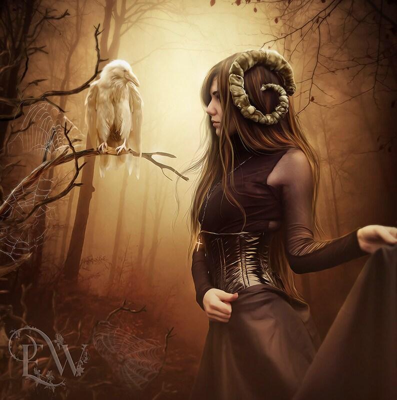 608054b5 Gothic Woman artwork, white raven art, demon woman artwork, Dark forest  artwork, Gothic decor, Gothic wall art