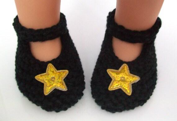 Étoiles chaussons Mary Jane - à la main chaussures de bébé nouveau-né doux tricot avec des étoiles d'or brillant - chaussons péruvienne Coton Pima - cadeau de naissance fille