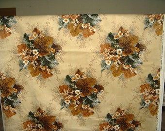 NEW Vintage velvet upholstery fabric brown, rust, tan floral design Hard to find! 1982
