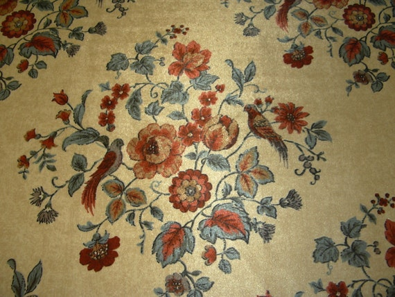 Retro Upholstery Fabric Cut Velvet Floral Bird Design Blue Etsy