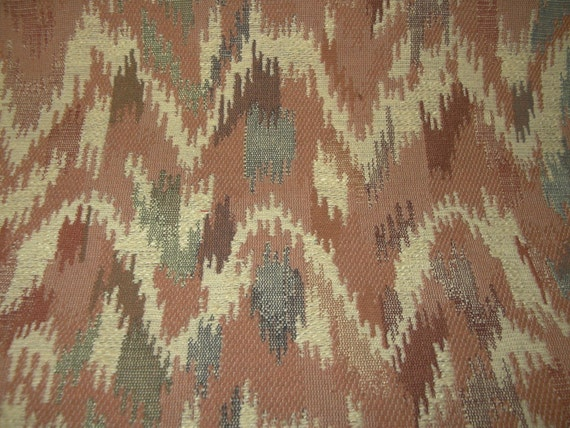 Vintage Upholstery Fabric Flamestitch Design Rust Brown Mauve Etsy