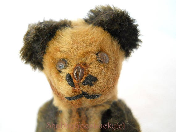 jointed metal corpus covered with mohair Antique miniature teddy panda bear 3 1-2 inch small old German 1920s Schuco bear metal eyes/&nose