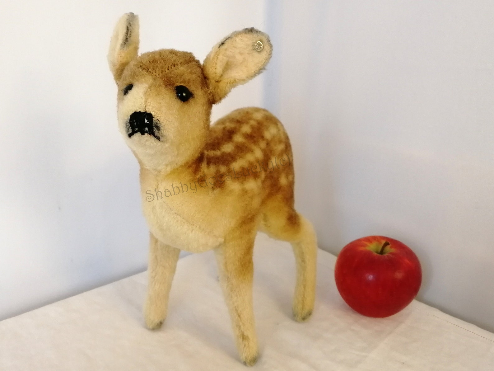 Steiff fawn deer vintage made 1949 - 1953 only, with Steiff button, 9 inch tall standing, made of wool plush