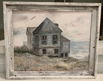 "Original painting by Nancy B. Brewer-""Still Standing"" beach house. 16x20 canvas framed."