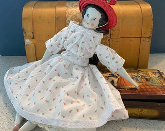 """Antique China head doll  """"Sister"""" Civil War era.  Lovely dress- 12 inches and so cute!"""
