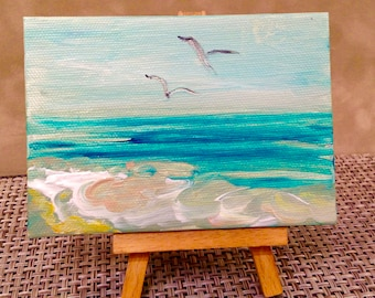 Miniature Painting South Carolina ocean, sea, beach by Nancy B. Brewer- with small easel.