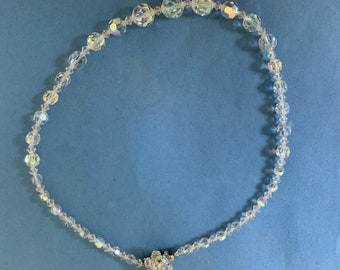 Iridescent 1950s glass beads- Sparkle 1950 style.  18 1/2 inches- with beaded clasp