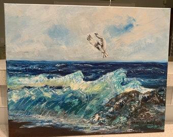 "Original painting- Ocean, Sea Gull, ""Against the Wind"" 16x20 canvas"