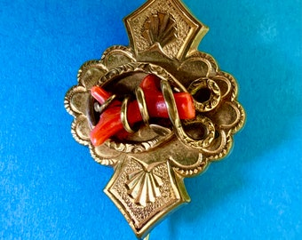 Antique Victorian brooch.  Real Coral. Very detailed mourning jewelry