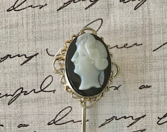 Stick pin- civil war era. 14k gold. Onyx hand carved antique cameo.  Mourning jewelry