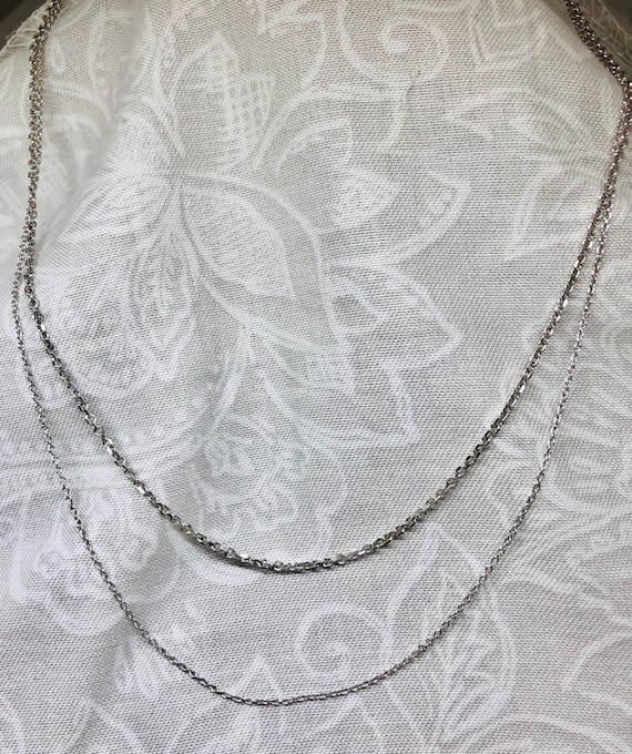 Pair of 14K White Gold Chains