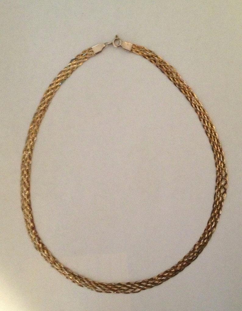 Sterling Vermeil 20 Braided w Vermeil Diamond Cut Chains Necklace ITALY