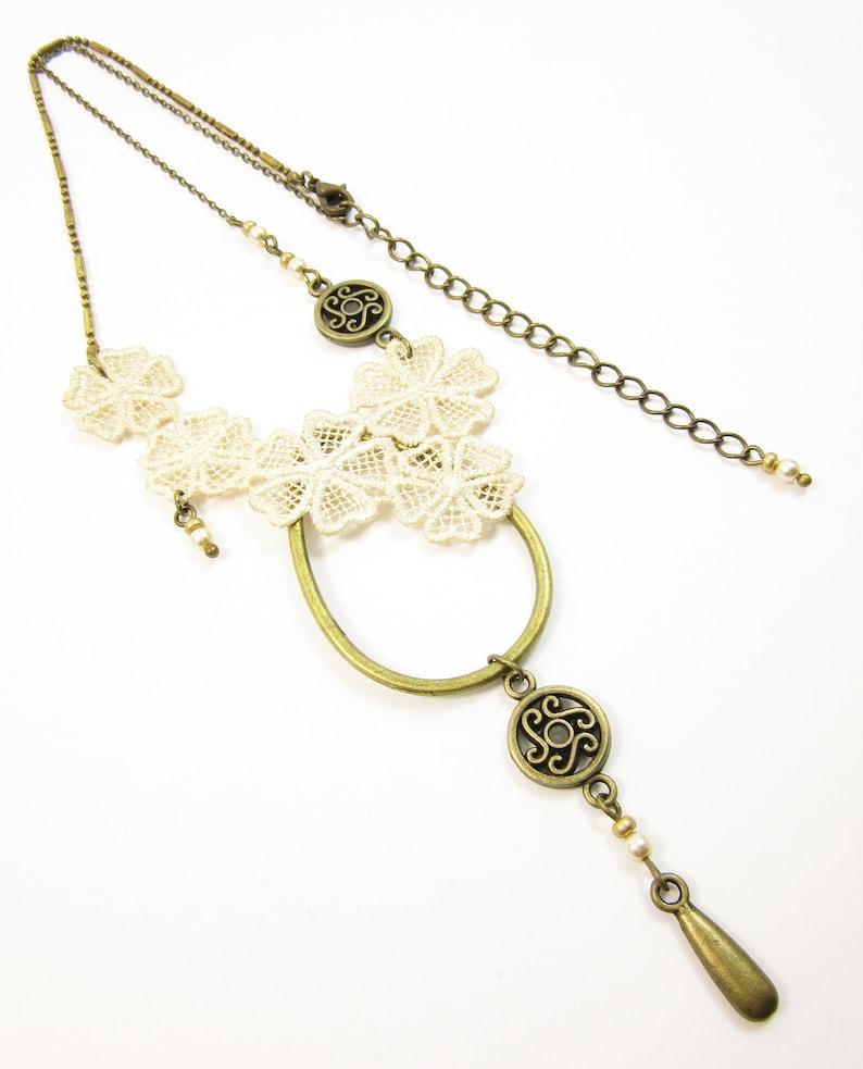 Short brass necklace Fleurette  flower vintage lace pearls and gold matte Bohemian glass beads