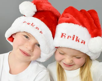 Traditional Luxury Santa Christmas Hats, personalised with a name of your choice, & in all sizes!