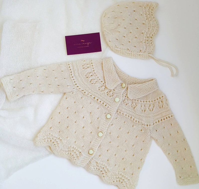 Perfect baby gift 100 /% merino wool Handmade knitted baby jacket and bonnet READY TO SHIP!!