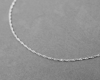 14k gold chain, gental necklace, white gold necklace, Singapore necklace. real gold 14k chain.  dainty white gold chain. delicate  chain