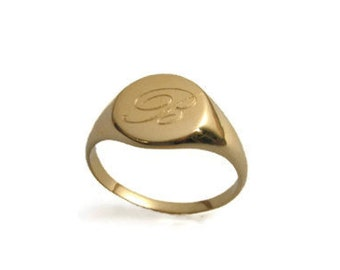14k solid gold Gold monogram ring. Personalized ring, Unisex ring, gift for him,personalized jewelry, Men ring, gold initial ring, name ring