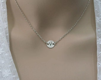 Initial necklace. Personalized necklace. Sterling silver tiny initial necklace. Bridesmaid gift ideas. Disc necklace. Coin initial necklace