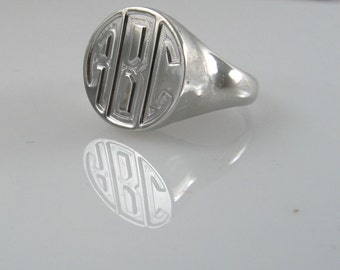 Monogram ring. Sterling silver ring. Silver monogram ring. Signet ring. Signet silver ring. Personalized signet ring. Monogram men ring.