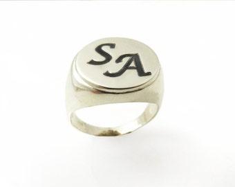Men monogram ring.college ring.initial ring.silver monogram ring.men initial band.mens initial ring.silver ring