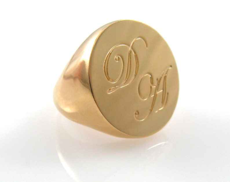 Gold initials ring. Personalized ring. Unisex ring. Gold image 0