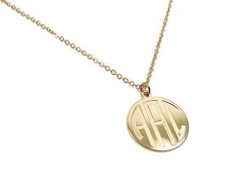 """Monogram pendant. Initials Necklace. 0.8"""" Personalized necklace. Monogram jewelry. Gold coin necklace. Monogram"""