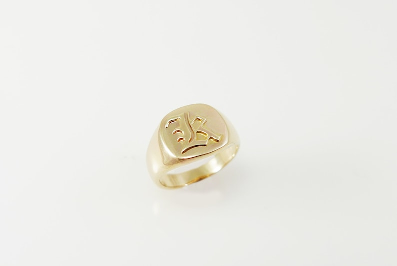 personalized ring .Guti initial ring old English ring .Engraved ring Monogram ring .men initial ring Signet ring gold monogram ring