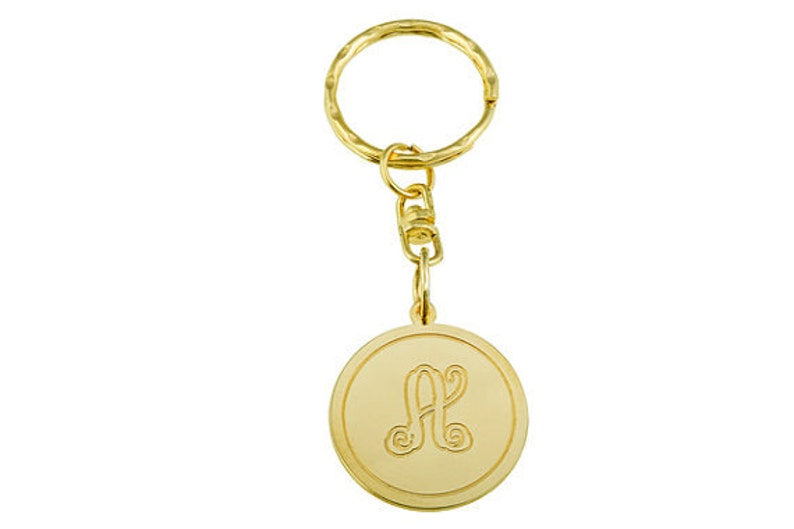 Monogram key chain. Gold monogram key chain. Personalized key image 0