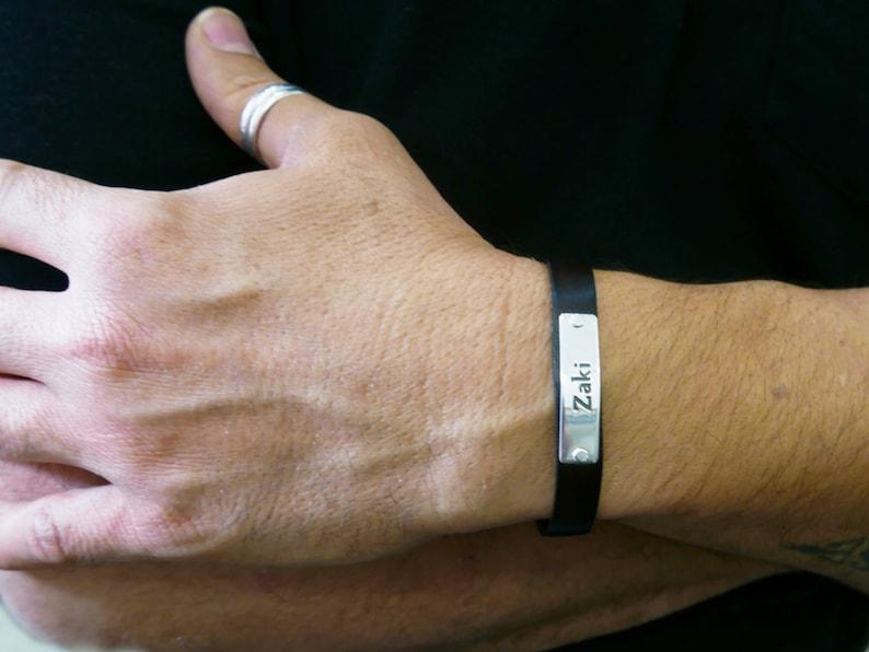 Mens leather bracelet. Personalized bracelet. monogram image 0
