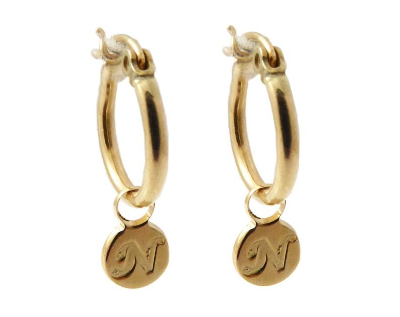 Initial Hoop Earrings. monogram Earrings. Gold Earrings. image 1