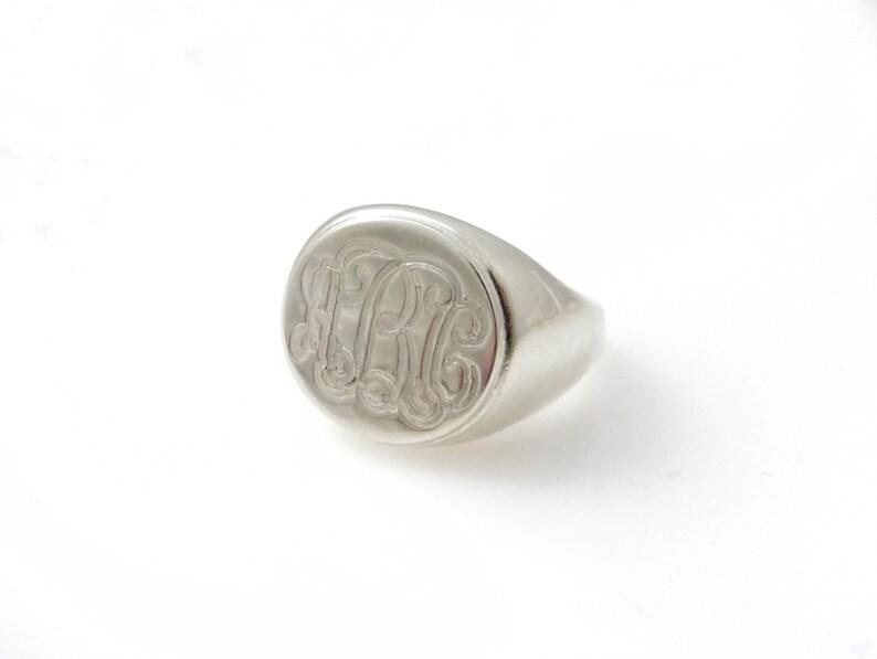 College ring Circle ring Initials ring Men monogram ring Men initial band Mens initial ring Engraved silver ring Silver monogram ring
