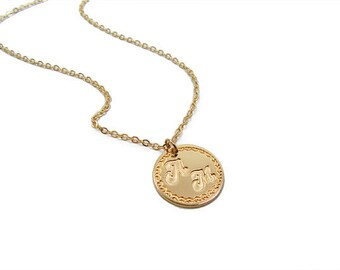 Initial necklace. Gold necklace. Monogram necklace. Personalized Necklace. Gift for her, monogram jewelry, initial pendant