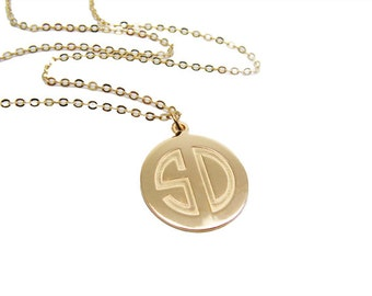 Double Initial Personalized gold Necklace. gift for her, monogram jewelry, initial pendant, initial jewelry, bridesmaid gift