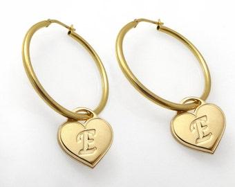 Initial Hoop Earrings. monogram Earrings. Gold Earrings. Personalized Earring. Alphabet Earring. Hoop Earring. Name Earring. Heart.