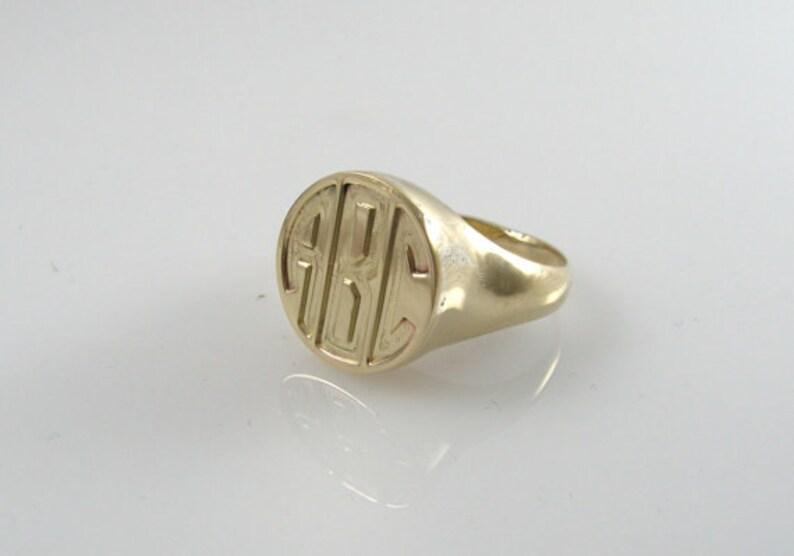 Monogram ring. Gold monogram ring. Unisex. women ring. Initial image 0