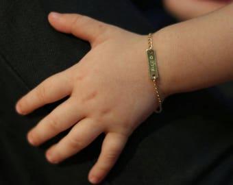 14k Hebrew  gold Baby name bracelet. nameplate bracelet. Personalized bracelet. Gift for baby . Name plate bracelet. Bar bracelet. baby